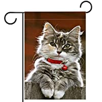 ガーデンサイン庭の装飾屋外バナー垂直旗クリスマス幸せな猫オールシーズンダブルレイヤー