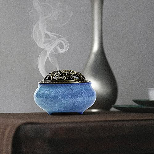 Quemador de Incienso de Cerámica - Incensario de Carbón de Porcelana con Soporte de Varilla de Incienso de Calabaza de Latón y Cubierta Metálica, para Ayudar a Dormir