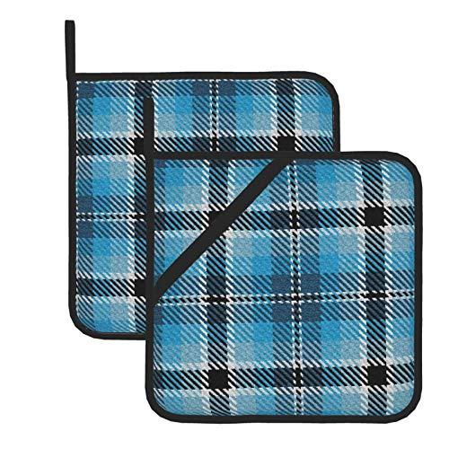 Beauty-Design Juego de 2 posavasos resistentes al calor, almohadillas calientes lavables para cocinar y hornear, turquesa cielo y azul colonial