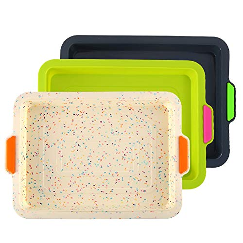 Hovico 3 PCS Silicone Bakeware Set,Non-Stick Silicone Bread Pan,Oven-Microwave-Dishwasher Safe Bakeware Cake Mold