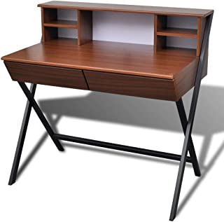 vidaXL Computer Desk Brown with 2 Drawer Home Office Student Table Bookshelf