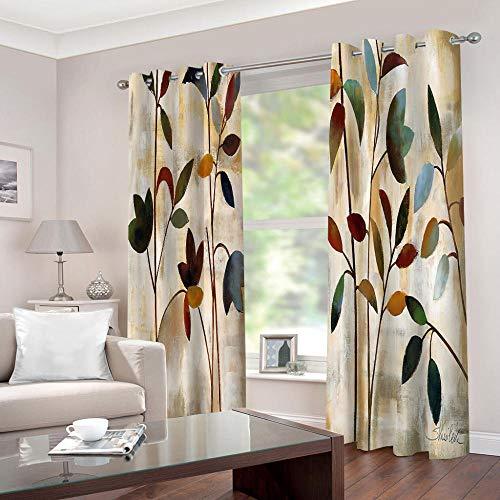 WAFJJ Blickdichte Gardinen Verdunkelungsvorhang Vintage & Blumen Lichtundurchlässige Vorhang mit Ösen für Schlafzimmer Geräuschreduzierung Größe:2 x B140 x H245cm