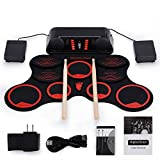 Roll-Up Drum Kit Portable Electronic Drum Set with Rechargeable Battery Foot Pedals Drumsticks Built in Loud Speakers Christmas Present