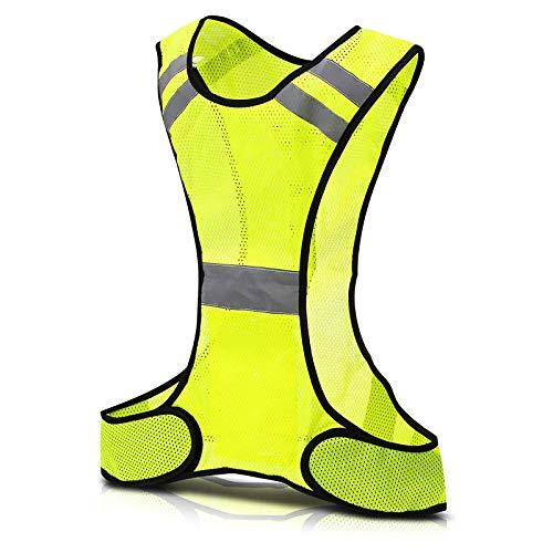 Houkiper Chaleco Reflectante LED para Correr, Chaleco de Alta Visibilidad Luces Brillantes para Alta Visibilidad Correr de Noche y mañana (Fluorescent Yellow)