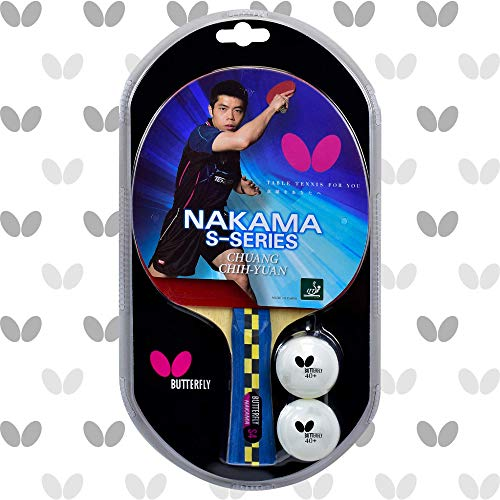 Butterfly Nakama S4 Table Tennis Racket - Carbon Fiber Power With Surprising Control - Nakama Series - Includes 2 40+ Balls - Recommended For Advanced Level Ping Pong Play