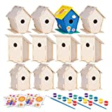 12 Wooden Birdhouses - Crafts for Girls and Boys - Kids Bulk Arts and Crafts Set - 12 DIY Unfinished Wood Bird House Kits, 12 Paint Strips, 12 Paintbrushes & Stickers for Children to Build & Paint