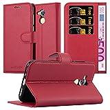 Cadorabo Custodia Libro per Honor 6A in Rosso Carminio – con Vani di Carte, Funzione Stand e Chiusura Magnetica – Portafoglio Cover Case Wallet Book Etui Protezione