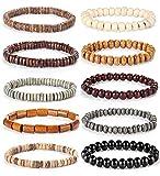 Finrezio 10 Pcs Bracelet en Perle Bois Homme Femme Bracelet Bouddhiste Lithotherapie Pierre Chakra Lave B