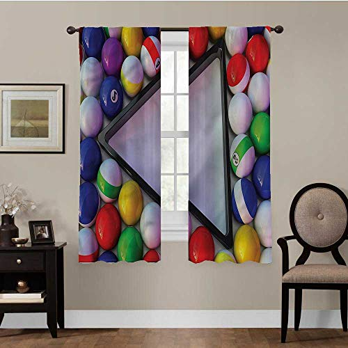 Thermal Insulated Blackout Curtains Manly, Colorful Snooker Balls Sports Noise Reducing Thermal Insulated Blackout Window Drapes Best Home Decoration, Set of 2 Panels (42 x 63 Inch)