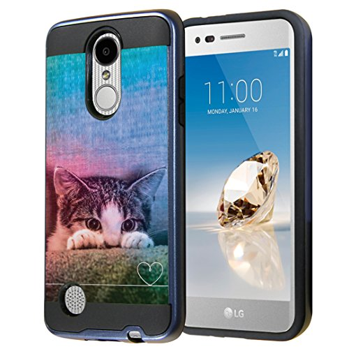Capsule Case for LG Aristo, Fortune, Phoenix 3 [Cute Dual Layer Heavy Duty Slim Protection Tough Case Black Blue] for LG Aristo, K4 2017, K8 2017 - (Kitty Cat)