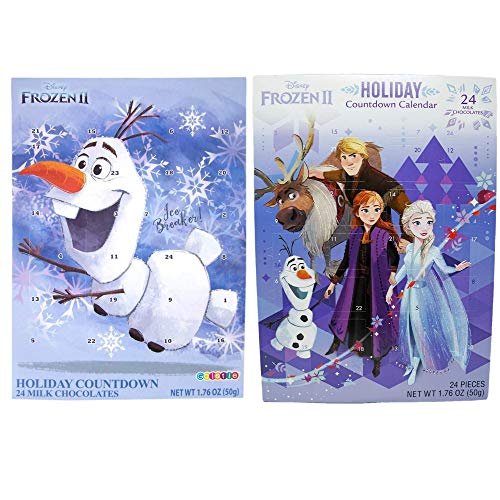 Needzo Disney Frozen 2 Advent Calendars, Olaf and Elsa Christmas Countdown 2020 Chocolate Candy Filled Set of Two