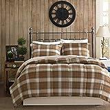 Woolrich Plaid Bed Comforter Set Ultra Soft Microfiber 3 Pieces Bedding Sets – Bedroom Comforters, King, Brown