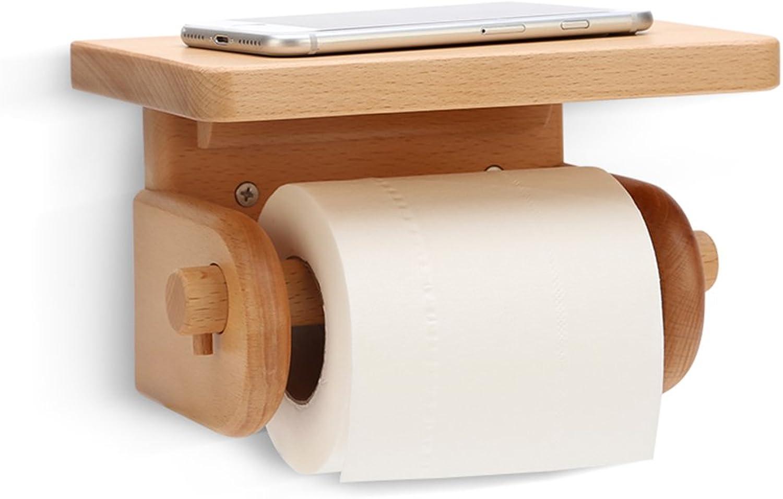 WENZHE Over Toilet Bathroom Toilet Roll Holder Storer Wall Mounted Tissue Box Wooden, 3 Models 19  12  11.5cm Storage Racks Unit (color   Beech)