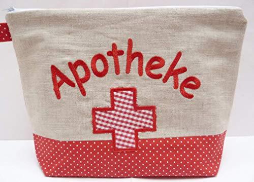 bestickte APOTHEKE - ReiseAPOTHEKE XL Notfalltasche, erste Hilfe, Medikamente, first aid kit, pharmacy, Notfall, Reisefieber, express, Geschenk