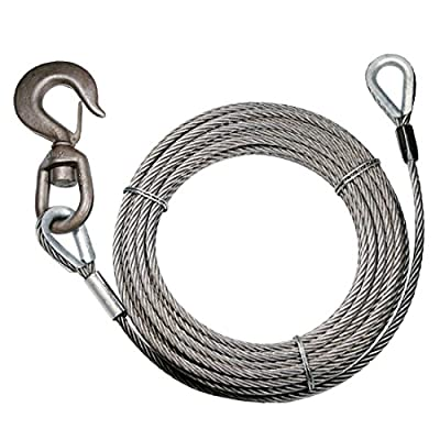 Vulcan Classic Fiber Core Extension Winch Cable With Swivel Hook And Eye - 13,950 lbs. Minimum Breaking Strength