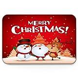 Amanda Walter Feliz Navidad Dibujos Animados Lindo Santa muñeco de Nieve y Alce, Divertido Interior Antideslizante Alfombrillas de Bienvenida Mut Dirt Zapatos raspador alfombras Alfombra 40x60cm