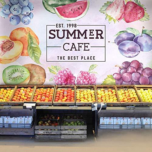 WGBHQ Tienda De Frutas Restaurante Café Heladería Mural Arte De La Pared Habitación De Los Niños Dormitorio Sala De Estar Tv Pared Fondo Foto Decoración Autoadhesivo Papel Tapiz Mu(W)250x(H)175cm