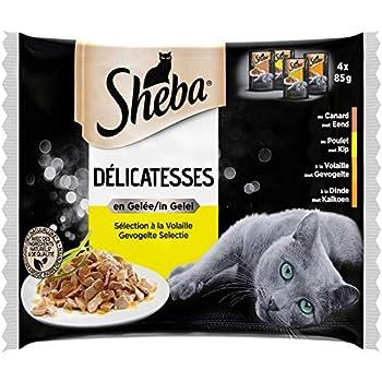 Sheba Délicatesses en gelée pour chat adulte – Nourriture humide pour chats - sélection à la volaille – Lot de 13 x 4 (52 sachets de 85g)