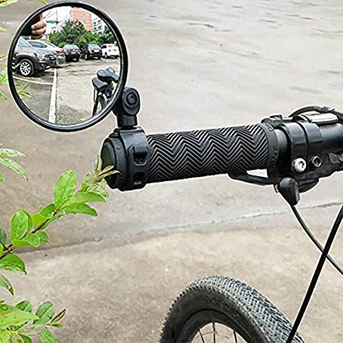 Funmix Specchio per Bicicletta,Manubrio per Bicicletta Regolabile A 360 ° Specchio Convesso Grandangolare MTB per Bici da Strada Sicura per Ciclismo su Strada