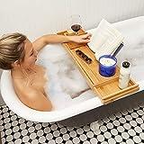 Bathtub Tray/Bathroom Caddy - Bath Table Accessories - Bamboo Trays for Tub