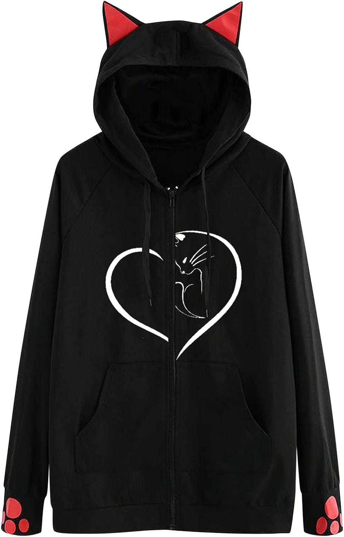 Womens Hoodies Casual Long Sleeve Zipper Cute Cat Ear Hooded Sweatshirt Cat Print Drawstring Pullover Tops Jacket Coat