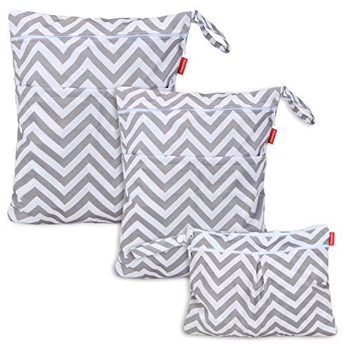 Damero 3pcs Dry Bag pacchetto Wet per pannolini di stoffa pannolino Bag Daycare sacchetto dell'organizzatore, Grigio Chevron