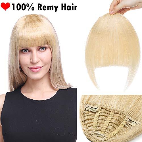 Frange Cheveux Naturel a Clip Postiche Franges Femme Naturels Extension Rajout Cheveux a Froid - Epais 613#Blond Blanchi (18CM - 25g)