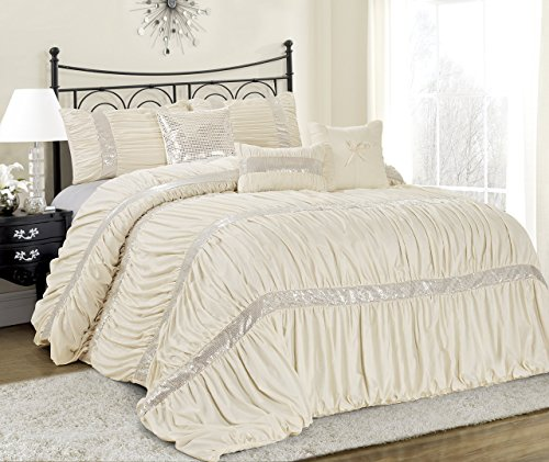 7 Piece CLARAITA Chic Ruched Pleated Comforter Set-Queen King Cal.King Size (King, Ivory)
