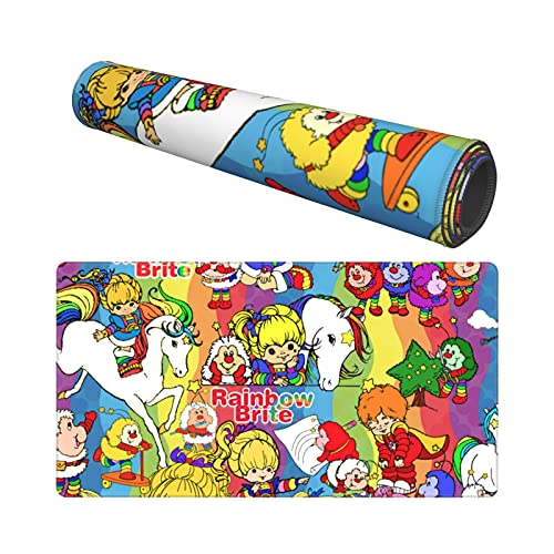 Large Rainbow Brite Mouse Pad Extended Gaming Mousepad Desk Mat Non-Slip Anime Mousepad 15.8''×29.5''
