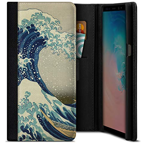Funda Tipo Libro Great Wave Off Kanagawa de Hokusai para Samsung Galaxy S9 Plus.