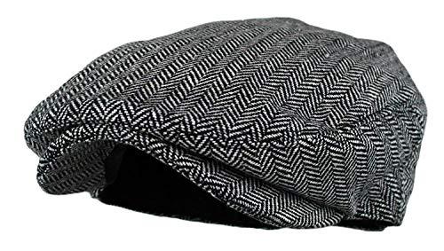 Wonderful Fashion Men's Classic Herringbone Tweed Wool, Grey, Size Large/X-Large