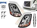 Volvo VNL Headlight Projection Chrome with LED bar Halos for Volvo Truck 630 670 730 780 2004-2017 - Set of 2 PLUS H7, H11, 2x H1 LED Bulbs, Chrome Fender Guard Trim Set, and Wipers