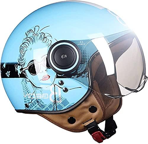 Casco Moto Cara Abierta Retro 3/4,Medio Casco Moto Casco Protección Moto Casco Moto Estilo Retro Vintage Medio con Visera para El Sol Aprobado por Dot/ECE(Color:4;Size:L)