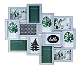levandeo Fotocollage Bilderrahmen mit Glasscheiben für 12 Fotos Silber - Fotogalerie...