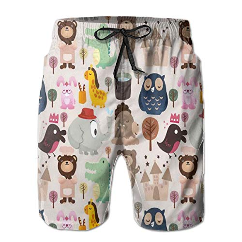 Swimming Shorts Funny Printed,Giraffe Crocodile Teddy Bear Elephant Bird Cartoon Toy Animal Castle Baby Shower,Quick Dry Beach Board Trunks with Mesh Lining,XX-Large