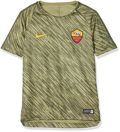 NIKE A.s. Roma Dri-fit Squad - Camiseta de fútbol para niño, Niñas, 928165-209, Neutral Olive/Medium Olive/Universidad Gold, Small