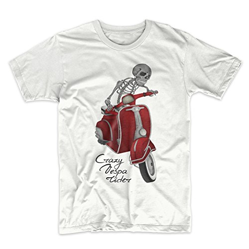 Crazy Vespa Rider Moped Scooter Herren T-Shirt Weiß Small