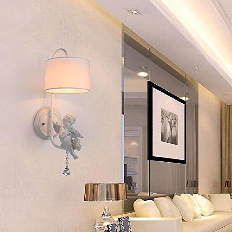 Modern klassisch Wandleuchte Metall Stoff Wandlampe Kreativ Elegante Continental Schlafzimemr Wohnzimmer Nachttischlampe Lampen Spiegel vorne und hinten Leselampen einem Kopf wei 1E27 Max.40W