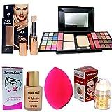 indiaglee special Beauty Combo of 5 PCs - Concealer, Makeup Kit, Face & Body Highlight Shimmer, Foundation, Blender