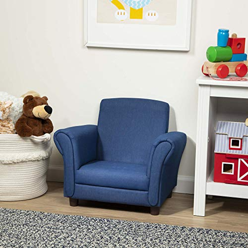 "Melissa & Doug Child's Armchair, Denim Children's Furniture (Sturdy Construction, Multiple Colors, 18.3"" H x 17.5"" W x 23"" L, Great Gift for Girls and Boys - Best for 3, 4, 5 Year Olds and Up)"