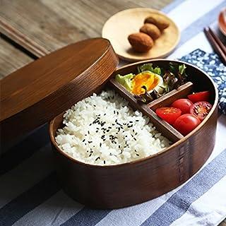 Scatola di Pranzo Bento box Sana in Legno Naturale Contenitore Rettangolare per Alimenti a Doppio Strato Per Alimenti per Ufficio Scolastico Picnic Sushi Bento Regalo