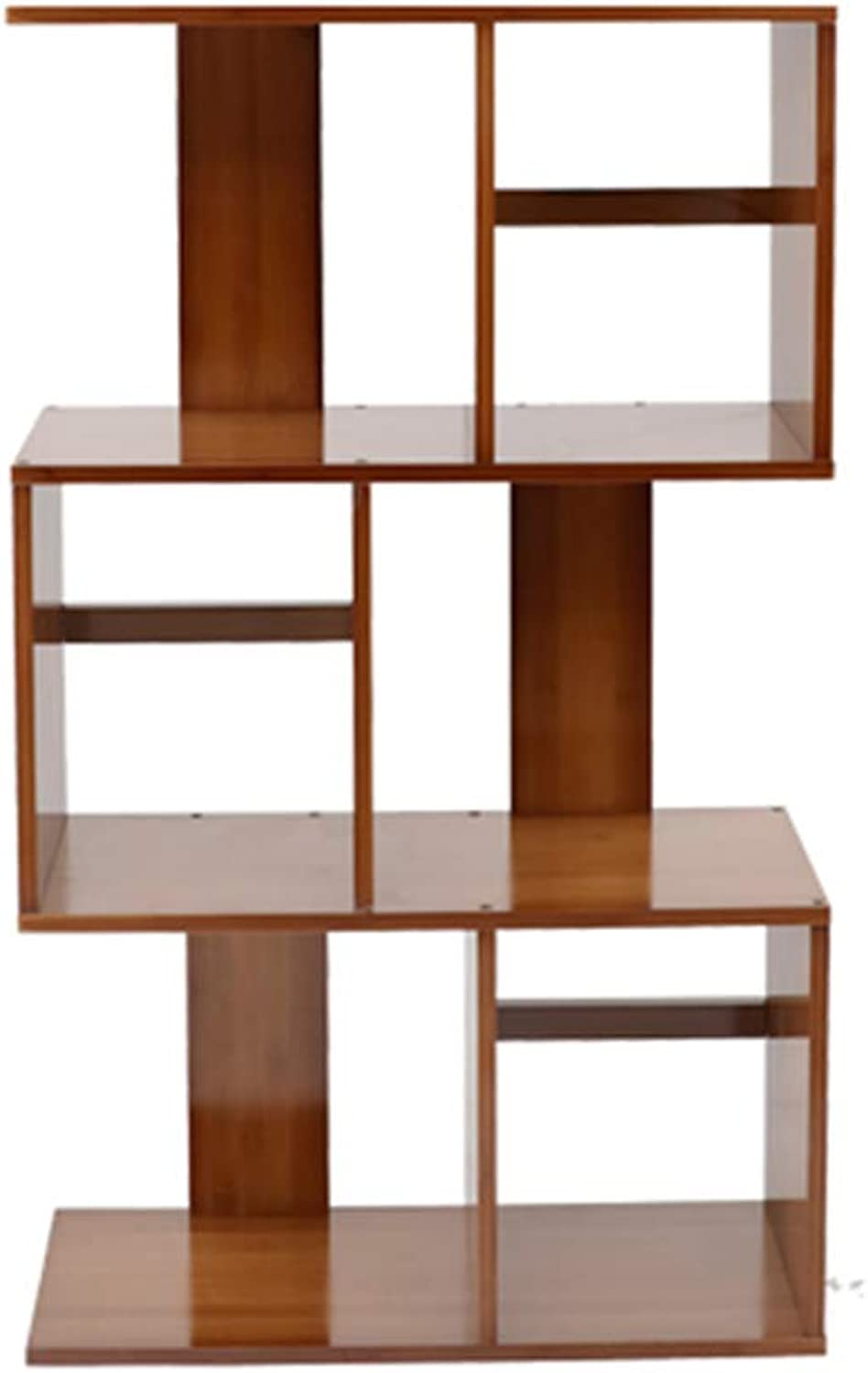 Bookcase Simple Shelf Living Room Bamboo Bookcase Creative Study Small Bookshelf Home Storage Rack (color   Brown, Size   60x24.5x102cm)