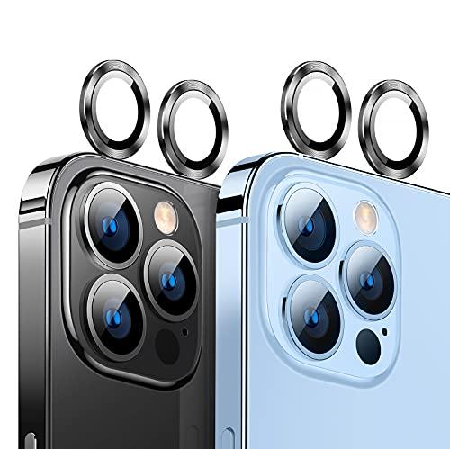 TORRAS カメラ保護 iPhone 13 Pro 用 iPhone 13 Pro Max 用 カメラフィルム キズ防止 剝落防止 貼り付け簡単 4枚入れ アイフォン 13プロ用 13プロ マックス用 カメラレンズ保護フィルム スペースグレイ