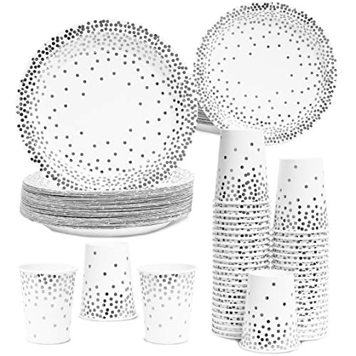 Juvale 150 Count Disposable Paper Party Plates and Cups Set for 50 Guests, Silver Foil Dots