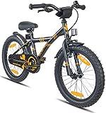 Prometheus vélo Enfant 18 Pouces pour garçons et Filles en Noir Mat et Orange à partir de 6 Ans avec Freins V-Brake en Aluminium et rétropédalage – BMX 18 Pouces modèle 2019