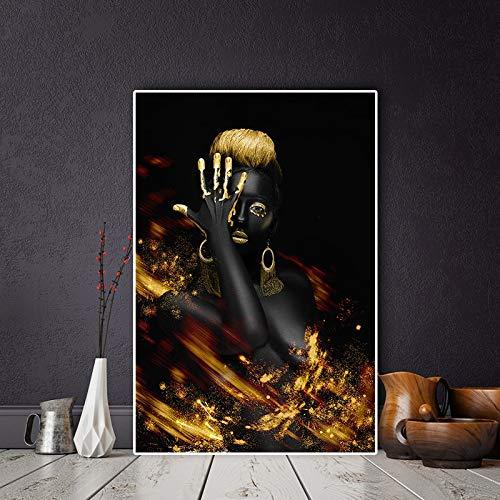 Indische Schwarz-Gold-Ölgemälde der afrikanischen nackten Frau auf Leinwandplakat und Gravurfresko des skandinavischen Wohnzimmers rahmenlose Dekoration Z62 50x70cm