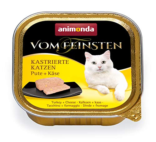animonda Vom Feinsten Adult Katzenfutter, Nassfutter für ausgewachsene Katzen, kastrierte Katzen Pute + Käse, 32 x 100 g