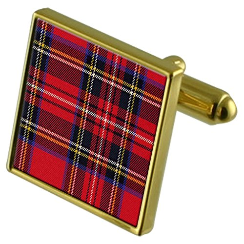 Select Gifts Boutons de manchette or Tartan Royal Stewart