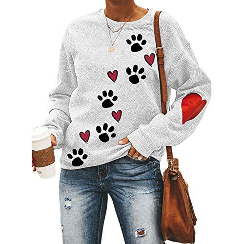 Stylische Sweatshirts für Damen und Mädchen, mit Hundepfoten-Aufdruck, langärmelig, Blusen, Pullover, lässiger Mantel, Geschenk – Weiß M