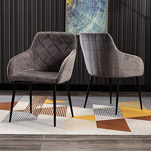 Mingone 2er Set Retro Esszimmerstuhl Küchenstuhl Wohnzimmerstuhl Sitzfläche aus Samt,Gestell aus Metall Sessel mit Armlehne (Grau)